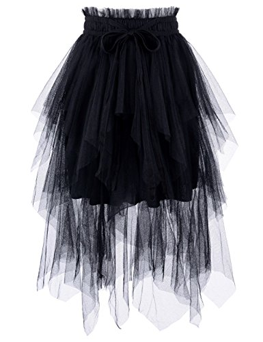 - NEARKIN (NKNKWLSK746 Womens Mystical Layered Lace Banding Fairylike Midi Skirt Black US L(Tag Size XL)