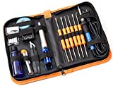 TortugaPro 19pcs Soldering Repair Kit gets: Wood Burning, Stained Glass, and Repair Projects Done FAST! Adjustable 110v 60w Solder Iron, De–Solder Pump, ESD tools and more! all in an Organized Case