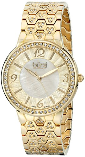 Burgi Women's BUR115YG Swiss Quartz Crystal Accented Mother-of-Pearl Guilloche Yellow Gold Bracelet (Gold Guilloche)
