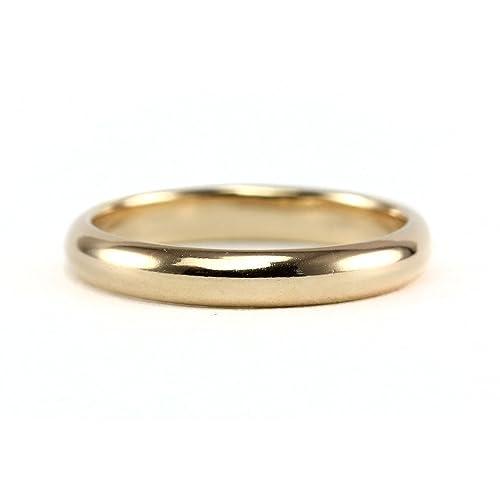 14K Yellow Gold 3mm Half-Round Wedding Band Ring