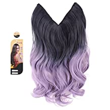 """creamily? Black Purple to Powdery Violet 14"""" Ombre Dip Dye Flip In Secret Miracle Wire Hair Extensions Synthetic Curly Wave Hairpieces 14"""""""