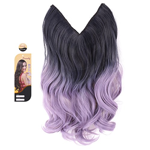 creamily 20quot Black Purple to Powdery Violet Ombre Dip Dye Secret Miracle Wire Hair Extensions Synthetic Curly Wave Hairpieces 20quot