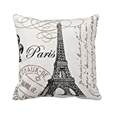 Paris Eiffel Tower Stamp Square Custom Throw Pillow Case, 18 X 18-Inch