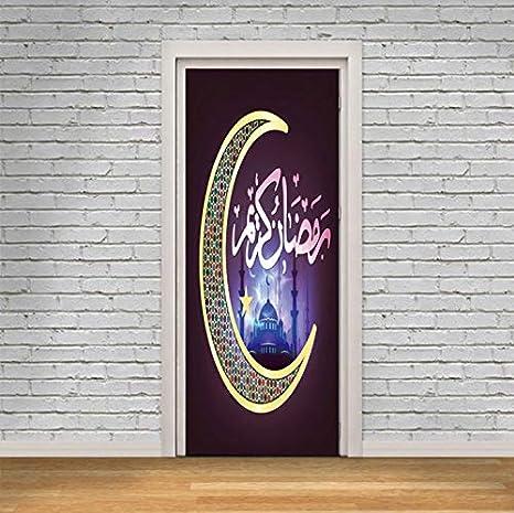 tonywu vinilos Puertas Arte Musulmán Pegatinas En Las Puertas De PVC Ascensor Entrada Mural Impermeable DIY Renovación De La Puerta Autoadhesiva Decoración para El Hogar Wallpaper Dormitorio