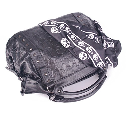 and Pockets Ladies for Clearance Soft Satchel Purses Tote Skull with Women Big Women Handbags Black Sale on Leather xZ0P7qtwz