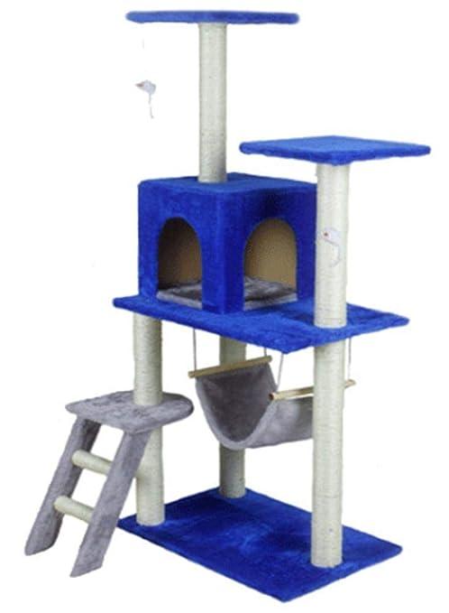 Kaxima Árbol para Gatos Gato árbol 59 * 39 * 138 cm Felpa Azul