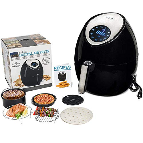 The Total Package Large Air Fryer, 8-in-1 Digital Screen, with Endless Recipes, and Deluxe Accessory Kit by Yedi Houseware (5.8QT)