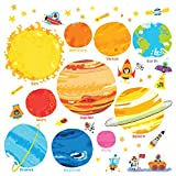 Decowall DS-8017 Planets and Space Kids Wall Stickers Wall Decals Peel and Stick Removable Wall Stickers for Kids Nursery Bedroom Living Room (Small)