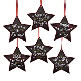 Pack of 24 Red, White and Black Chalk Board Inspired Stars w/ Phrases Christmas Ornaments 4.5''