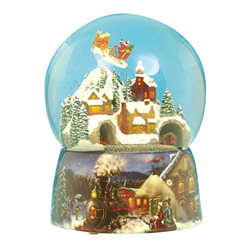 (Musicbox Kingdom 49001 Train Snow Globe Santa Music Box, Turns to The Melody Santa Claus is Coming to Town)