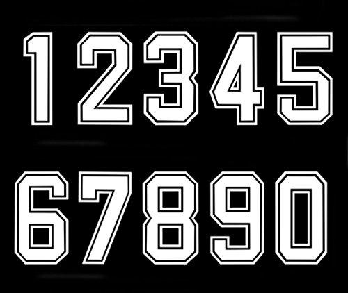 3.5 pulgadas de alto números 0-9 transferencia de calor para fútbol béisbol Jersey deportes camiseta blanca