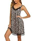 Ekouaer Chemise Sleepwear Women Leopard Print Fashion Nightgown Full Slips Loungewear Lingerie (Leopard Print, X-Large)