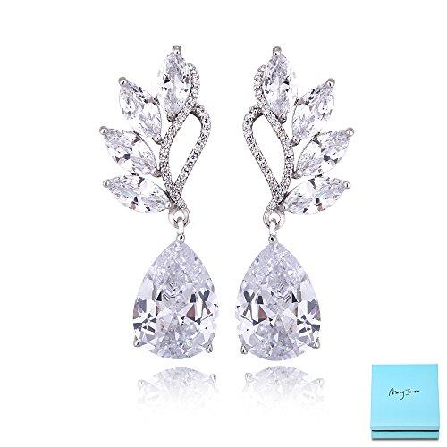 Gold Plated Wedding Earrings (Women's Cubic Zirconia Bridal Earrings - Elegant Teardrop Floral Leaf CZ Crystal Rhinestone Wedding Earrings for Bride Bridesmaids Mother of Bride Pageant Party Prom by AMYJANE)