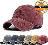 Unisex Vintage Washed Distressed Baseball Cap Twill Adjustable Dad Hat,C-burgundy,One Size