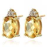 14k Yellow Gold Yellow Citrine Gemstone and Diamond Stud Earrings, Birthstone of November