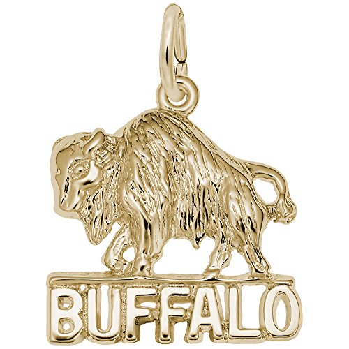 Buffalo Charm In 14k Yellow Gold, Charms for Bracelets and Necklaces
