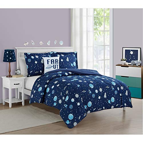 Rocket Twin Star Comforter - 3 Piece Navy Blue White Space Themed Comforter Twin Set Far Out Galaxy Motif Bedding Outer Space Rocket Ship Celestial Stars Outter Comit Planets Astronomical Pattern, Microfiber