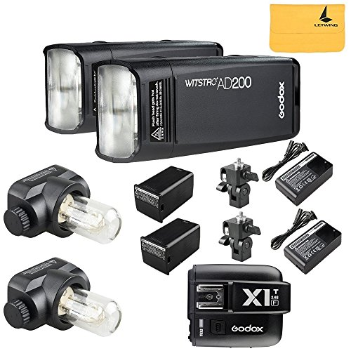 GODOX AD200 TTL 2.4G HSS 1/8000s 2Pcs Pocket Flash Light Double Head 200Ws with 2900mAh Lithium Battery+GODOX X1T-F TTL Flash Trigger Transmitter Compatible for Fuji DSLR Cameras