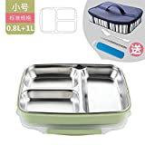 Luckyfree Lunch Box Leak Proof Lunch Food Container for Work Lunches Picnic Travel Camping Stainless Steel, Green Small 3 Grid Bag