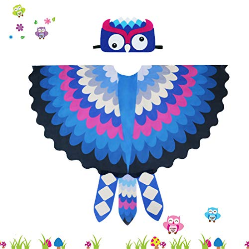 Toddler Kids Fairy Bird Costume Owl Wings Feathered with Mask - Boys Girls Animal Dress-up Party Favors (#4 Blue)