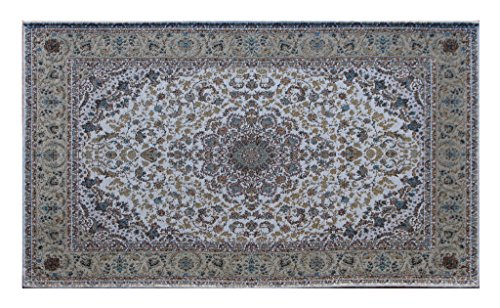 Masada Rugs, Traditional Floral Area Rug, Beige, Non Slip Backing, Washable (2 Feet 3 Inch X 4 -