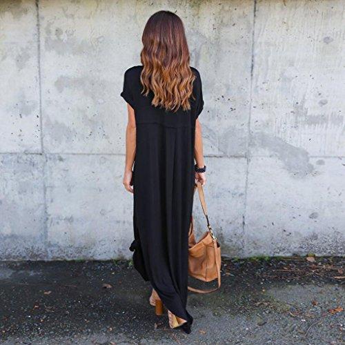 Lookatool Womens Plage L'été Gallus Manches Courtes Noir Parole Longueur Robe Longue