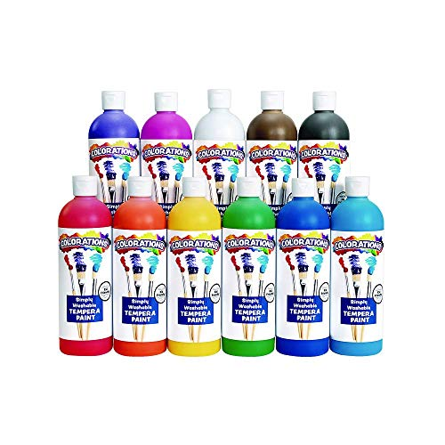 Colorations – SWT16 Simply Washable Tempera Paints, 16 fl oz, Set of 11 Colors, Non Toxic, Vibrant, Bold, Kids Paint, Craft, Hobby, Arts & Crafts, Fun, Art Supplies