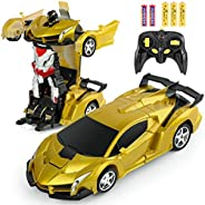 BIFYTON Remote Control Car Transforming Robot, Transform Car Robot with One Button Transformation and 360 Degr