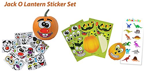 Make a Pumpkin Decoration Stickers Set, 2 Different Sets, Enough to DECORATE 24 PUMPKINS . + 1 Sheet of Dinosaurs Stickers, = 25 Sheets of Stickers, By 4E's Novelty,