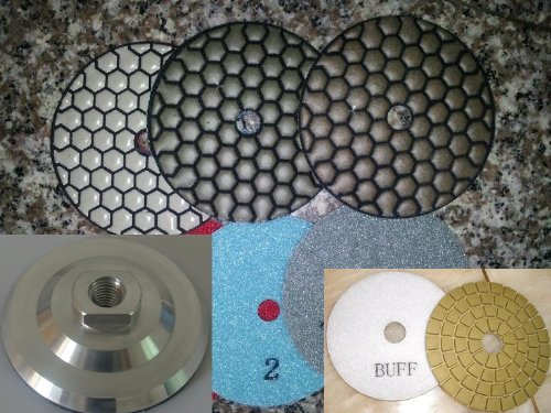 4'' DAMO Premium Dry Diamond Polishing Pad 14 Pieces + Glaze Buff + Aluminum Backer Granite Marble Concrete toolsmart