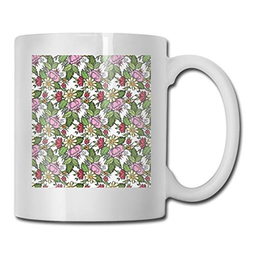 Funny Ceramic Novelty Coffee Mug 11oz,Pastel Toned Lily Dahlia Frangipani Bouquet Essence Of Nature Pattern,Unisex Who Tea Mugs Coffee Cups,Suitable for Office and Home