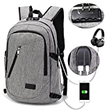 Business Laptop Backpack – Portable Water Resistant Laptop Bag for 15.6 Inch Computers – Business Oxford Notebook Shoulder Bag for Travel, School, with USB Port and Multiple Zipper Pockets (Gray)
