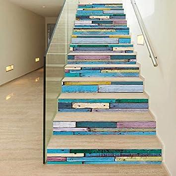 Vinilos Escaleras Grano De Madera De Imitación Creativos Pegatinas De Escalera A Prueba De Agua Simples Escaleras 3D Pegatinas Pegatinas Paisaje Pegatinas Autoadhesivas Pegatinas De Pared: Amazon.es: Bricolaje y herramientas