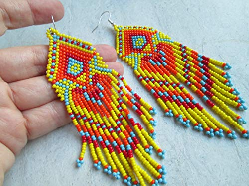 red Yellow orange turquoise aztec hand beaded dangle earrings Native American style southwest design - Earrings Beaded Hand Native