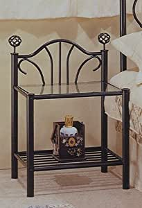 Amazon Com Black Finish Metal Night Stand Bedside Table