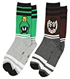 Looney Tunes Marvin the Martian and Taz Men's 2 Pack Casual Crew Socks