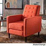 Christopher Knight Home 300598 Macedonia Mid Century Modern Tufted Back Muted Orange Fabric Recliner