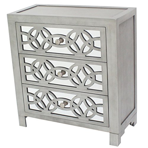River of Goods  Drawer Chest: Glam Slam 3-Drawer Mirrored Wood Cabinet Furniture - Pewter (3 Painted Chest Drawer)
