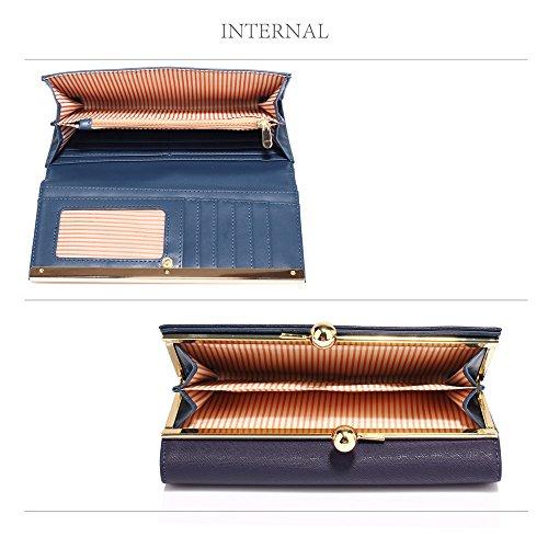 TrendStar Damen Mode Entwerfer Damen Qualität Imitate Leder Geldbörsen Brieftasche Münze Kupplung Taschen Marine
