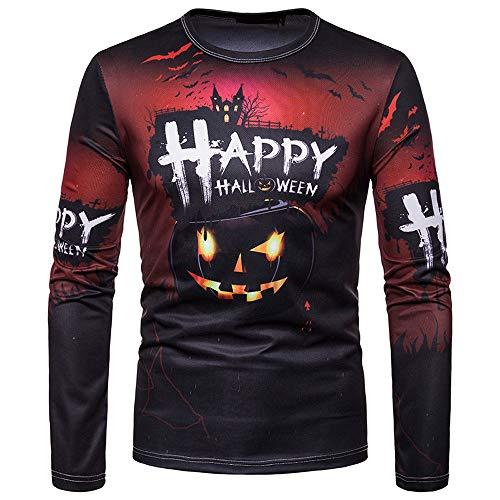 kaifongfu Halloween Top for Men Autumn Winter T-Shirt Blouse Long-Sleeved(Black,XXL) -