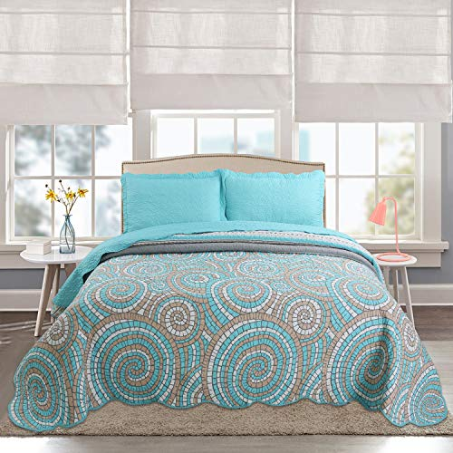 Hilin Fashion Bedspread Coverlet Set Circle Green Oversized 3-Piece Quilt Set (King, Green) (Western Coverlet Set)