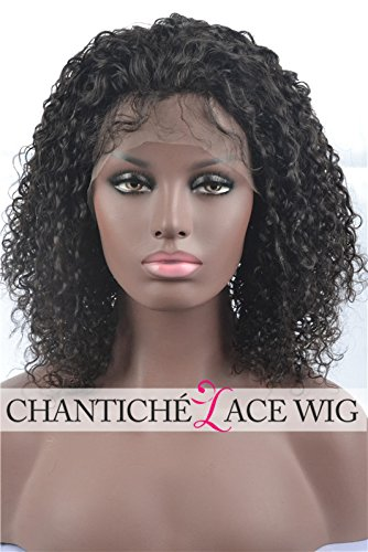 Chantiche Kinky Curly Lace Front Wigs Brazilian 5a Remy Human Hair Wig for Black Women 180 Density 16inch Natural Color Medium Size Cap Medium Brown Lace