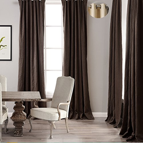 ChadMade Premium Double Layers Antique Bronze Grommet Eyelet Linen Cotton Mocha Curtain Drapery (1 Panel) In 50Wx96L - Panel Butterfly Antique