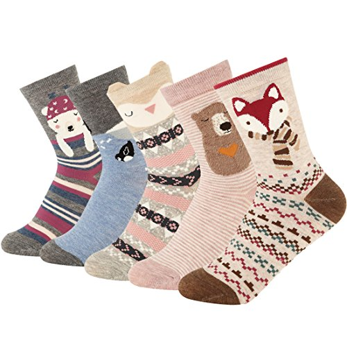 Women Crew Socks Cartoon Funny Animal Pattern Low Cut Ankle Socks 5 Pack