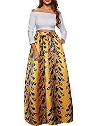 Women African Printed Casual Maxi Skirt Flared Skirt...