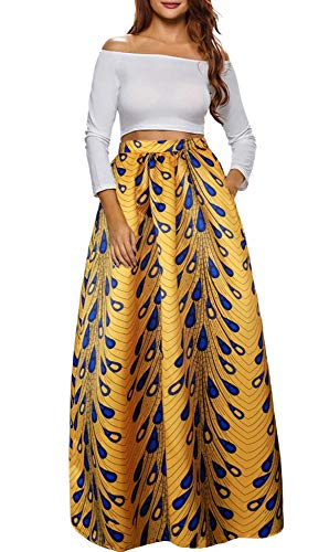 Afibi Women African Printed Casual Maxi Skirt Flared Skirt Multisize A Line Skirt (S-3XL) (XX-Large, Pattern 9) ()