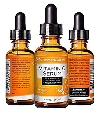 PROFESSIONAL GRADE 2oz VITAMIN C SERUM 20% With Hyaluronic Acid - Vitamin E, Witch Hazel, Vegetable Glycerin, Jojoba Oil & More - Anti Wrinkle, Anti Aging, Repairs Dark Circles & More - MADE IN USA
