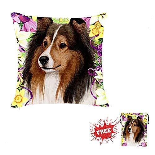 Throw Pillow Covers Square Pillow Case Sheltie Dog Flower Double Prints Cotton Linen Zipper Cushion Gift Mini Drawstring Bag Pillowcase 18 x 18 inch