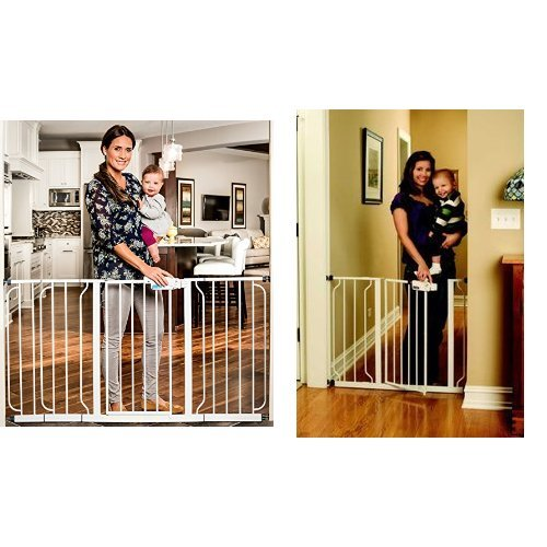 Regalo Extra WideSpan Walk Through Safety Gate, White & Regalo Easy Step Walk Thru Gate, White, Fits Spaces between 29