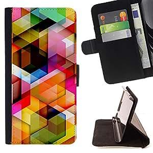 DEVIL CASE - FOR LG OPTIMUS L90 - 3D Polygon Pattern Maze Dimensional - Style PU Leather Case Wallet Flip Stand Flap Closure Cover